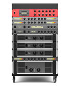 Audio effects processors in a rack isolated on white backgroud — Stock Photo
