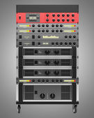 Audio effects processors in a rack isolated on gray backgroud — Stock Photo