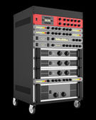 Audio effects processors in a rack isolated on black backgroud — Stock Photo