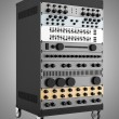 Audio effects processors in a rack isolated on gray background — Stock Photo