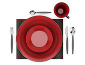 Top view of black and red table setting with cup isolated on whi — Stock Photo