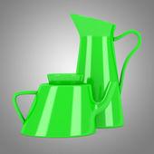 Brocca in ceramica verde e teiera isolato su sfondo grigio — Foto Stock