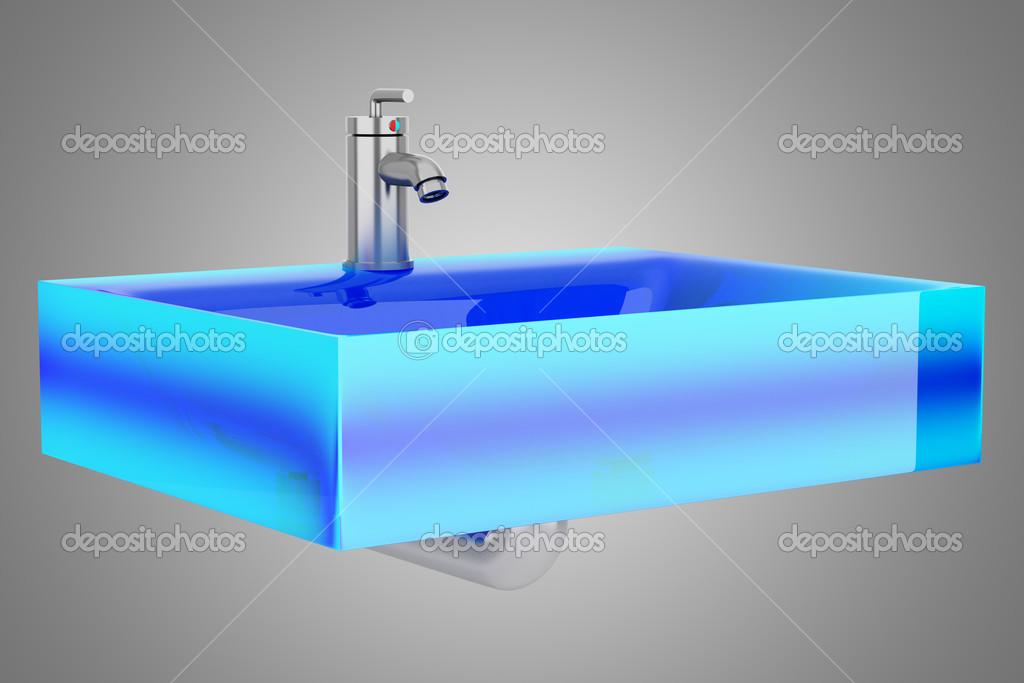 pia de banheiro de vidro azul moderno isolada em fundo cinza — Foto Stock © t -> Pia Banheiro Azul