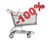 Shopping cart with 100 percent discount isolated on white backgr — Stock Photo