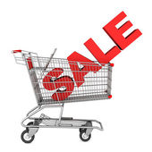 Shopping cart with word sale isolated on white background — Stock Photo