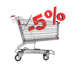 Shopping cart with 5 percent discount isolated on white backgrou — Stock Photo