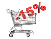 Shopping cart with 15 percent discount isolated on white backgro — Stock Photo
