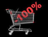 Shopping cart with 100 percent discount isolated on black backgr — Stock Photo