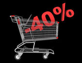 Shopping cart with 40 percent discount isolated on black backgro — Stock Photo