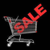 Shopping cart with word sale isolated on black background — Stock Photo