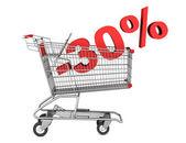 Carrito de la compra con descuento de 30 por ciento aislado en blanco centrico — Foto de Stock