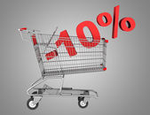 Shopping cart with 10 percent discount isolated on gray backgrou — Stock Photo
