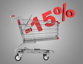 Shopping cart with 15 percent discount isolated on gray backgrou — Stock Photo
