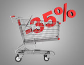 Shopping cart with 35 percent discount isolated on gray backgrou — Stock Photo