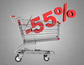 Shopping cart with 55 percent discount isolated on gray backgrou — Stock Photo