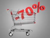 Shopping cart with 70 percent discount isolated on gray backgrou — Stock Photo