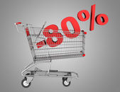 Shopping cart with 80 percent discount isolated on gray backgrou — Stock Photo