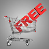 Shopping cart with word free isolated on gray background — Stock Photo
