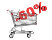 Shopping cart with 60 percent discount isolated on white backgro — Stock Photo