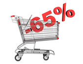 Shopping cart with 65 percent discount isolated on white backgro — Stock Photo