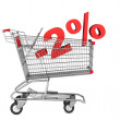 Shopping cart with 2 percent discount isolated on white backgrou — Stock Photo
