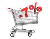 Shopping cart with 7 percent discount isolated on white backgrou — Stock Photo