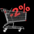Shopping cart with 2 percent discount isolated on black backgrou — Stock Photo