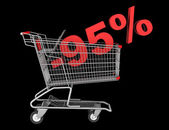 Shopping cart with 95 percent discount isolated on black backgro — Stock Photo