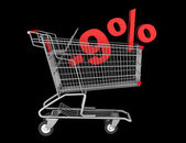 Shopping cart with 9 percent discount isolated on black backgrou — Stock Photo