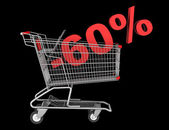 Shopping cart with 60 percent discount isolated on black backgro — Stock Photo