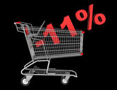 Shopping cart with 11 percent discount isolated on black backgro — Stock Photo