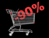 Shopping cart with 90 percent discount isolated on black backgro — Stock Photo