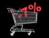 Shopping cart with 7 percent discount isolated on black backgrou — Stock Photo