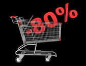 Shopping cart with 80 percent discount isolated on black backgro — Stock Photo