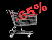 Shopping cart with 65 percent discount isolated on black backgro — Stock Photo