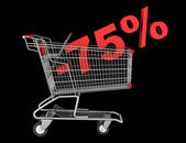 Shopping cart with 75 percent discount isolated on black backgro — Stock Photo