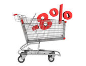 Shopping cart with 8 percent discount isolated on white backgrou — Stock Photo