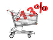 Shopping cart with 13 percent discount isolated on white backgro — Stock Photo