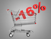 Shopping cart with 16 percent discount isolated on gray backgrou — Stock Photo