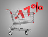 Shopping cart with 17 percent discount isolated on gray backgrou — Stock Photo