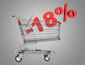 Shopping cart with 18 percent discount isolated on gray backgrou — Stock Photo