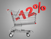 Shopping cart with 12 percent discount isolated on gray backgrou — Stock Photo