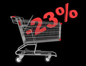 Shopping cart with 23 percent discount isolated on black backgro — Stock Photo