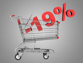 Shopping cart with 19 percent discount isolated on gray backgrou — Stock Photo