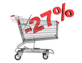 Shopping cart with 27 percent discount isolated on white backgro — Stock Photo