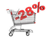 Shopping cart with 28 percent discount isolated on white backgro — Stock Photo