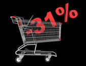 Shopping cart with 31 percent discount isolated on black backgro — Stock Photo