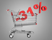 Shopping cart with 31 percent discount isolated on gray backgrou — Stock Photo