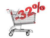 32% 割引白 backgro 上で分離したショッピングカート — ストック写真