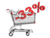 Shopping cart with 33 percent discount isolated on white backgro — Stock Photo